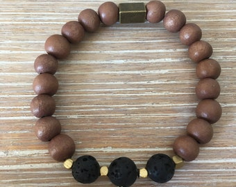 Essential Oil Bracelet, Lava Bracelet, Lava Beads, Lava Stone Bracelet, Essential Oil Diffuser, Aromatherapy