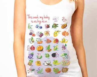 Week By Week Baby Is The Size of a.... Countdown Maternity Tank