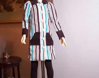 Pretty Striped Corduroy Winter Dress fits Most 60 cm BJD SD16 Girls
