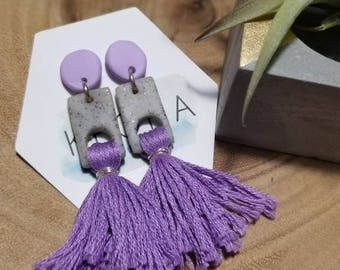 Cutout Tassel Dangles - purple