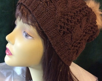 Chocolate cables slouchy hat