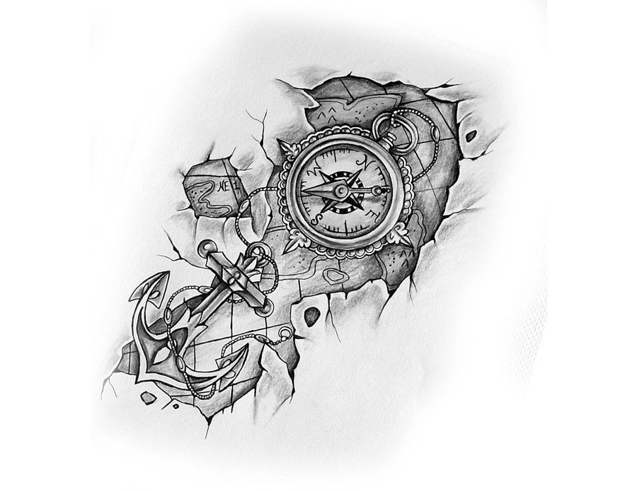 Compass Tattoo Line Drawing : Compass with anchor and map tattoo design