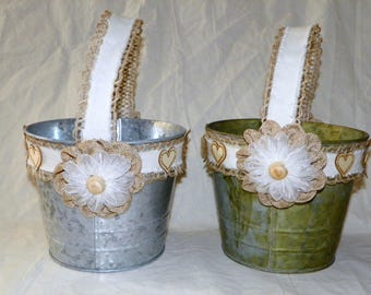 Flower Girl Basket in Grey Galvanized or Green Patina 6 Inch Metal Bucket, Rustic Wedding Flower Basket
