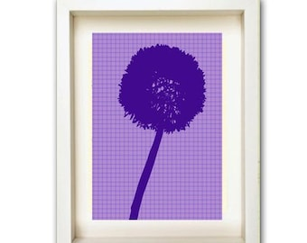 Purple Dandelion Print - purple silhouette,dandelion,summer,art,print