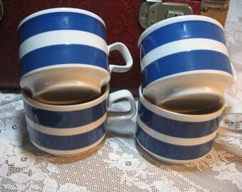 Blue and white year 70 England mugs