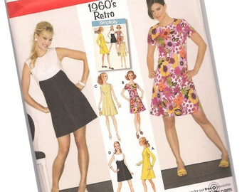 SIMPLICITY PATTERN 3833 sizes 6, 8, 10, 12, 14 retro remake 1960s dresses, four styles, new and uncut