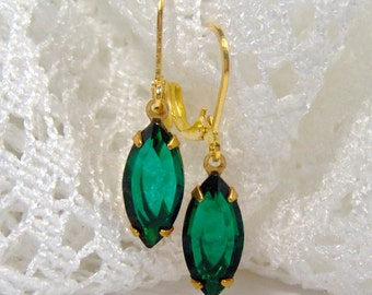 Emerald Rhinestone Earrings / Navette / May birthstone / girlfriend gift / gift for her / emerald crystal / leverback / vintage style