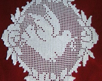Place mat hook white dove. Creation hand-made new