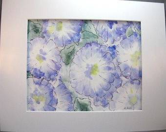 Original abstract watercolor painting matted and signed featuring pen and ink