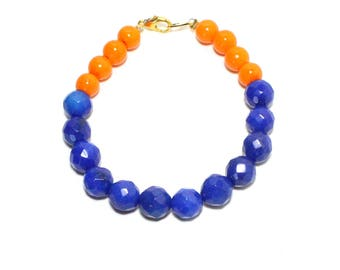Cobalt blue stone bright orange glass beaded layer stack bracelet
