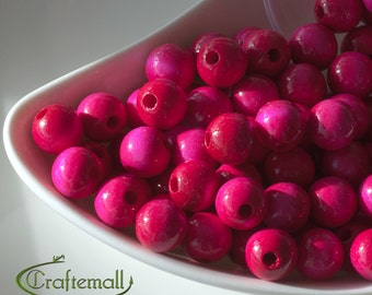 Wooden Beads - Pink 12mm - 20 Beads