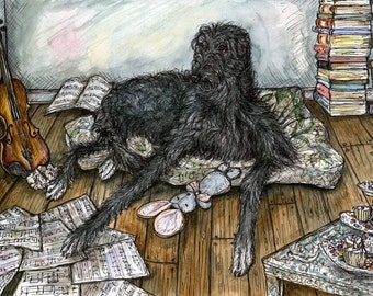 Deerhound Art Dog Print
