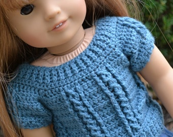 18 inch Doll Clothes - Crocheted Cable Sweater - Peacock Blue - MADE TO ORDER - fits American Girl