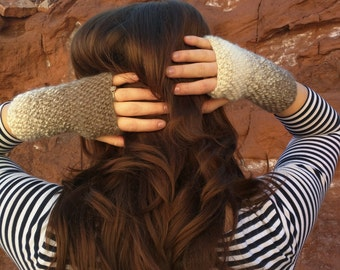 Cream and Taupe Fingerless Gloves