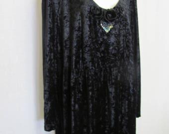 Plus Size Goth Velvet Dress Crushed Velvet Dress  Black Velvet Dress XL