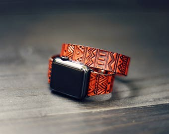 Double Tour Leather Apple Watch Band, apple watch double band, Double wrap band 38mm Apple Watch Strap 42mm iWatch Series 1 2 3 Aztec Tribal