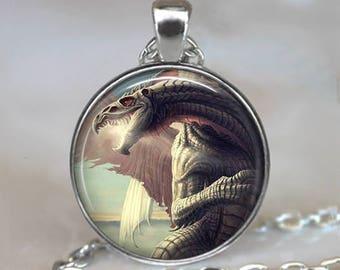 Silver Serpent Dragon necklace, Dragon jewelry dragon jewellery dragon pendant fantasy art pendant silver dragon key chain key ring key fob