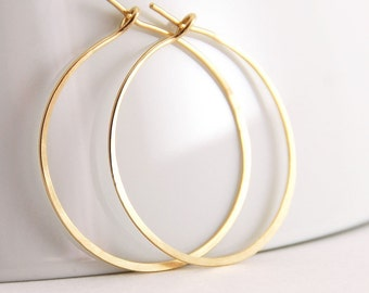 Gold Hoop Earrings, 14k Gold Fill,  Handmade Jewelry, 1 Inch Hoops