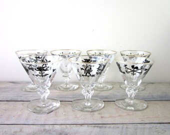 Vintage Mid Century Modern Libbey Cocktail Glasses Barware Set of Seven with Roosters and Weathervanes