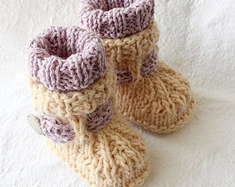 Knitting Pattern (PDF file)  Alpaca Baby Boots (sizes 0-6/6-9/9-12 months)