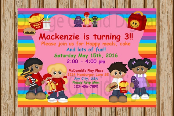 MCDONALDS Birthday Invitations McDonalds Playplace