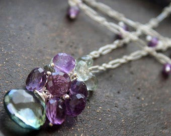 Amethyst and Amethyst Green Mystic Quartz Sterling Necklace- Handmade