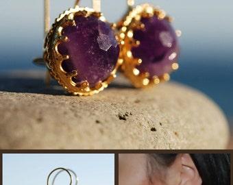 Amethyst Earrings in Crowned Ball settings in sterling silver coated 18K gold, purple amethyst, gold ball earrings, February birthstone
