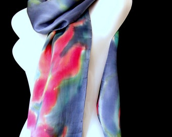 Silk Scarf, Hand Painted Silk Scarf, Orchids Vermillion Red Monaco Blue Satin Charmeuse Silk Scarf
