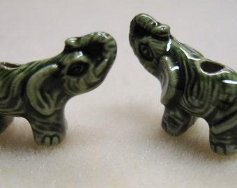 2 Green Peruvian Ceramic Large Hole Elephant Beads 18mm x 10mm