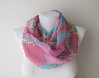 Pastel Infinity Scarf, Crinkle Chiffon Scarf, Floral Scarf, Circle Scarf, Women Loop Scarf, Fall Winter Spring Summer Fashion, Gift for Her