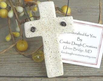 Cross Salt Dough Ornament Baptism Gift Tag / Christening Favor / 1st Communion Napkin Rings
