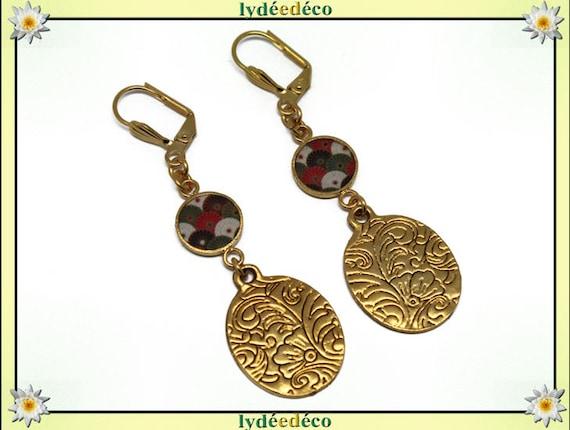 Earrings BOUQUET Golden brass gold 24 carat 24 k flower fan green Japan red Khaki Black and white resin