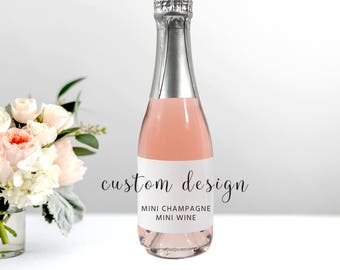 Custom Mini Champagne or Mini Wine Label Wedding Labels or Product Labels