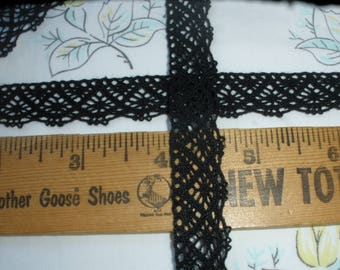"Black Cotton Crochet Cluny Lace Trim 5/8"" 16MM wide scallop edge edging retro yardage"