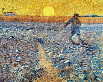 "Vincent  Van Gogh-The Sower.  antique art prints,  post impressionist art, canvas art print, fine art, antique art, Dutch art print, 11x14"""