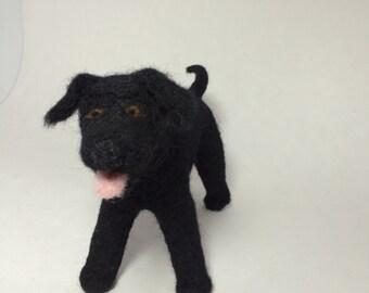 Needle-Felted Black Labrador Retriever
