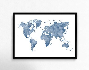 Navy world map etsy blue watercolor world map wall art map print map art world map poster gumiabroncs Image collections