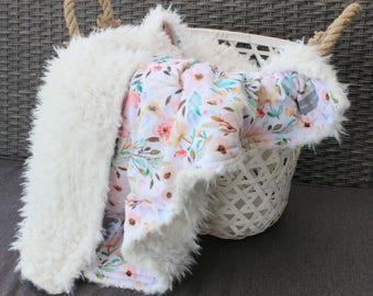 Watercolor Floral Blanket -Vintage Blanket - Toddler Blanket - Floral Minky - Faux Fur Blanket - Swaddling Blanket - Cozy Blanket