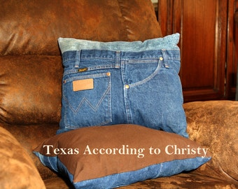Pair Recycled Denim Jeans Pillows