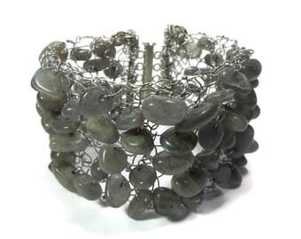 Meteorite - Grey/Silver Labradorite Bracelet - Hand Knitted Wire Mesh and Gemstone Bead Cuff - Mishimon Designs