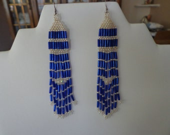 Beaded Statement Long Dangle Earrings on Sterling Silver Ear Wires Royal Blue and Clear Beads