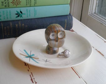Vintage Owl Ring Dish / Jewelry Storage Plate - Mid Century Modern Marble Owl Figurine Trinket Holder Dish - MCM Owl Home Decor Gift For Her
