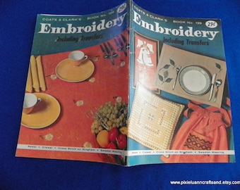 Embroidery Booklet Including Transfers Patterns and Designs Booklet Coats and Clarks Book No. 129 First Edition 1962