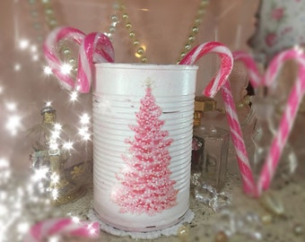 Pink Christmas Tree Shabby Chic Retro Painted White Small Tin Can Glitter Xmas Decor Table Centerpiece Candle Holder Vase Teacher Gift