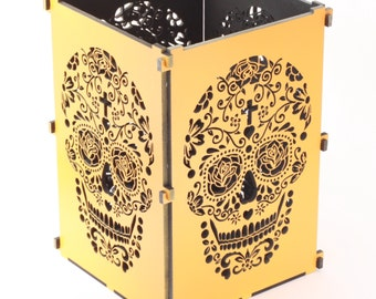 Sugar Skull, Orange Sugar Skull Light Box, Candle Box, Candle Holder, Day Of the Dead, Dia De Los Muertos, Mexican Sugar Skull
