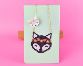 """WOLF NECKLACE and BROOCH, Birth Gift, Baby Shower Gift, Collection """"Wild"""", Handmade jewelry, Miyuki Beads, Birth Gift for mum and baby"""