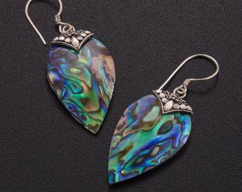 Abalone earrings silver. abalone shell jewelry. paua shell earrings. paua jewelry. boho earrings. blue silver earrings. beach jewelry.