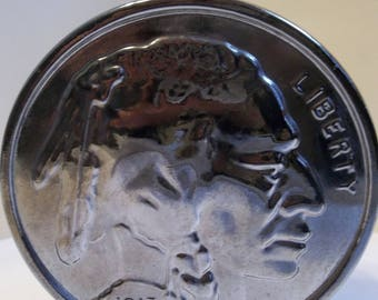 Vintage 1970's Buffalo nickel bottle, Wild Country aftershave (empty).