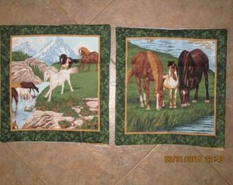 River Run Horse Unstuffed Pillow Set - Horse Decor  - Clearance