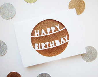 Birthday Card for Her - Paper Cut Birthday Card - Glitter Birthday Card - Happy Birthday Card - Cut Out Birthday Card - Birthday Card Friend
